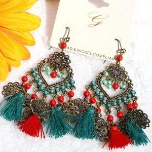Boho Earrings Turquoise & Red Tassel Dangles